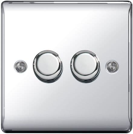 BG Chrome 2 Way Dimmer Switch 400w - 2 Gang